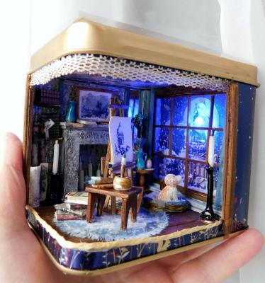 "Miniature in a tea box ""Blue Night"". Shurshakov Igor"