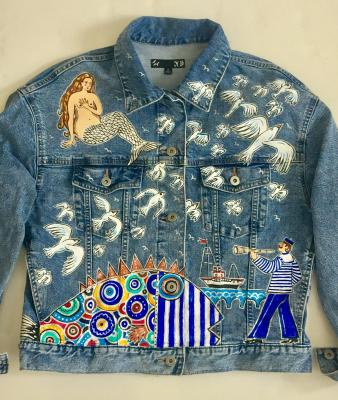 Marine history (denim jacket, author's painting) front part. Filippova Ksenia
