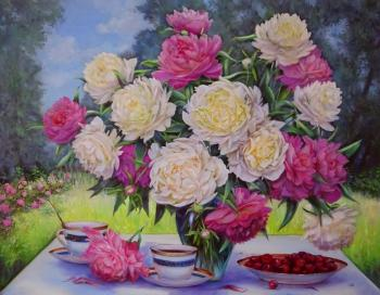 Peonies in the garden. Razumova Svetlana