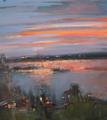 Lights come on in the port. Otroshko Aleksandr
