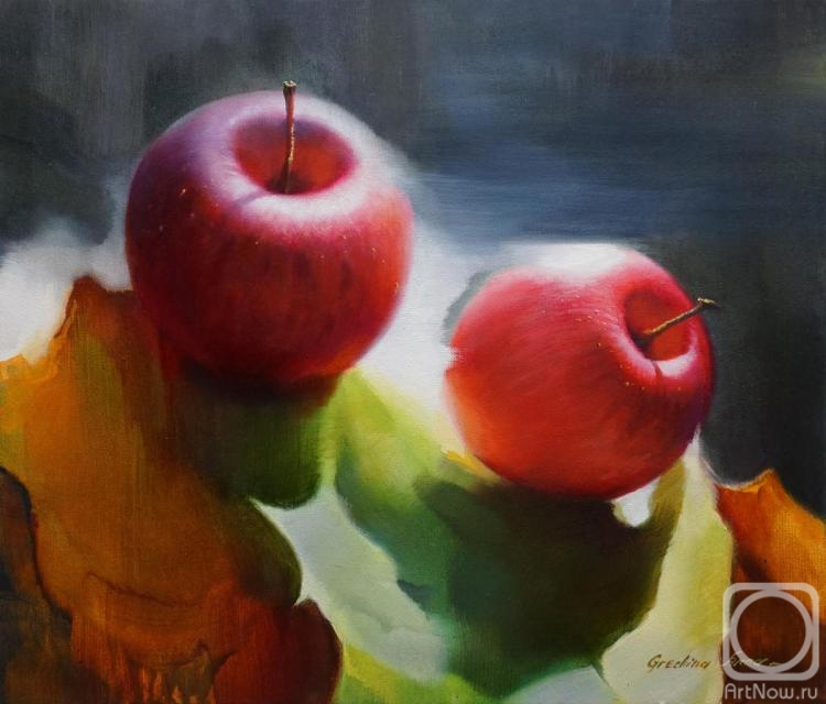 "Grechina Anna. Still life with apples ""Autumn Rhapsody"""