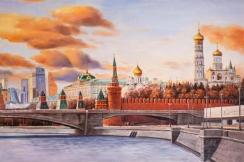 Times and epochs. View of the Kremlin and Moscow City (Moscow-River). Kamskij Savelij