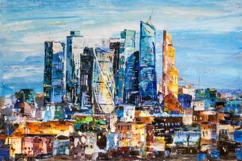 View of Moscow City. Business heart of the capital (Modern Impressionism). Rodries Jose