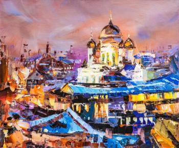 View of the Cathedral of Christ the Savior. Lilac sunset (Modern Impressionism). Rodries Jose