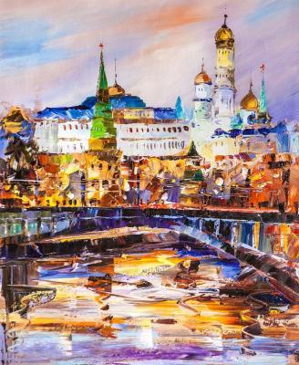 View of the Kremlin across the Bolshoi Kamenny bridge. Dawn (Modern Impressionism). Rodries Jose