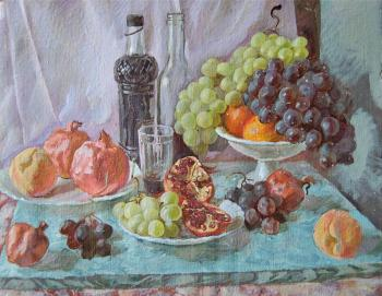 Wine and fruits on marble. Dobrovolskaya Gayane