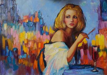 Blonde in a cafe (Painting As A Gift). Simonova Olga