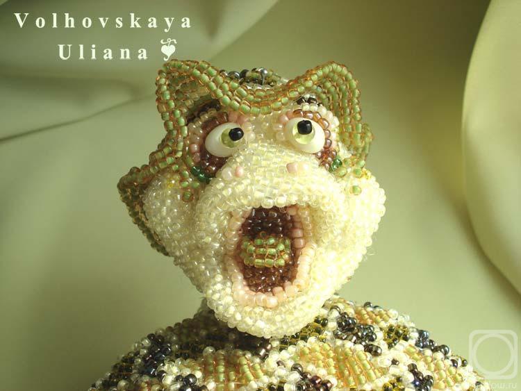 пример объемной фигурки, выполненной мозаичным плетением