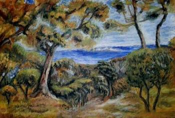 "A copy of Renoir's painting ""The Sea in the Canyon"" (Copy Of The Painting). Khubedzheva Nataliya"