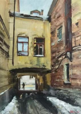 Two windows above the doorway (Old City Street). Silantyev Vadim