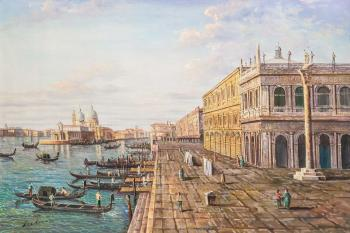 Free copy of the painting by M. Marieschi. View of the pier in front of the Palazzo della Zekka. Romm Alexandr