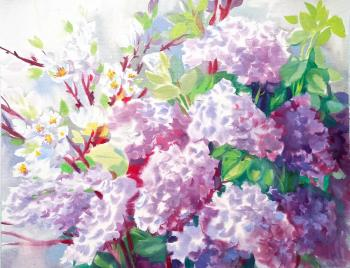 Lilac and cherry (Painting Interior). Mikhalskaya Katya