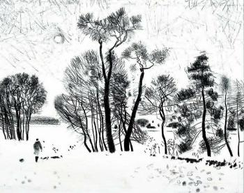 Drawing of winter trees (Winter Landscape). Isaev Gennadiy