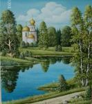 """Оригинал схемы вышивки  """"родной пейзаж 2 """". родной пейзаж 2, лес, церковь, озеро, природа, пейзаж, оригинал."""