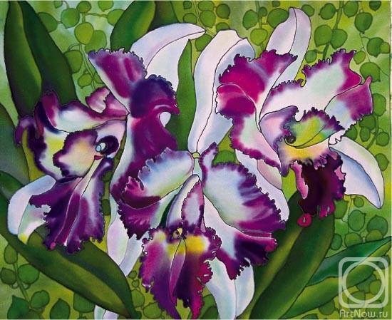 Брассокатлея - разновидность орхидей.  Работа выполнена в технике батик на натуральном шелке.