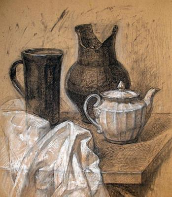Still Life with White Drapery / Graphit Pencil. Yudaev-Racei Yuri