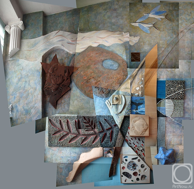 Yudaev-Racei Yuri. Large collage / Composition `Pterophyllum leopoldi` on the East wall of a Kindergarten staircase interior