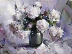 Still-life with white peonies