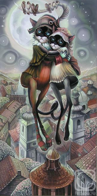 Очень романтичные работы.  Всем советую посмотреть, далее 18 батик картины...  Рисунки кошек Светланы Кротовой.