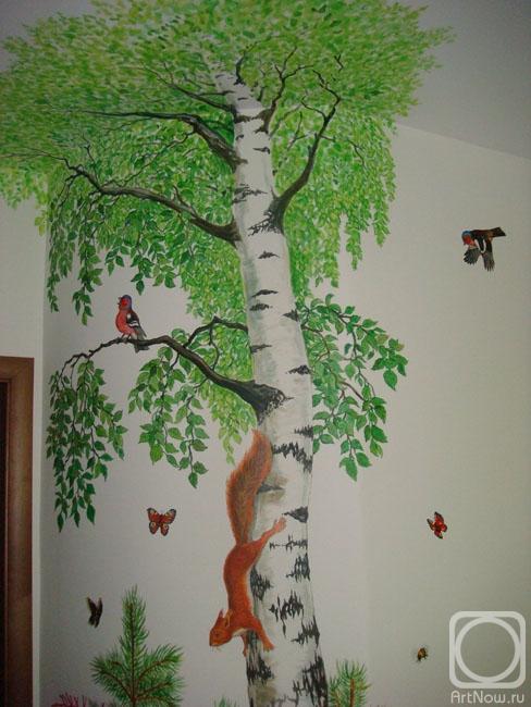 Как нарисовать березу на стене своими руками 487