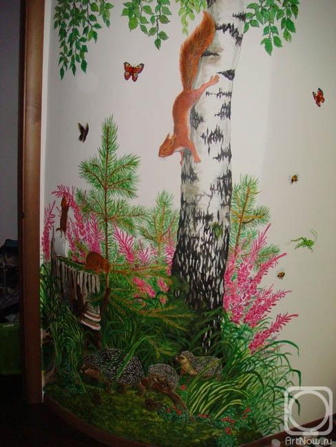 Как нарисовать березу на стене своими руками 464