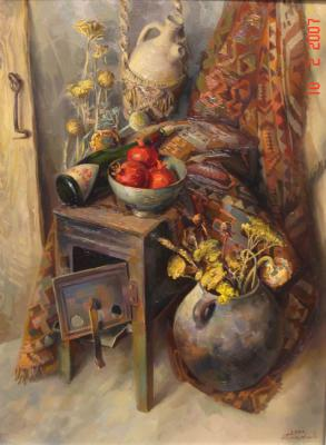 Khachatryan Meruzhan. Still life with a stove and a bottle of wine