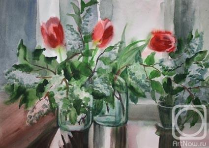 Натюрморт с тюльпанами и черемухой в