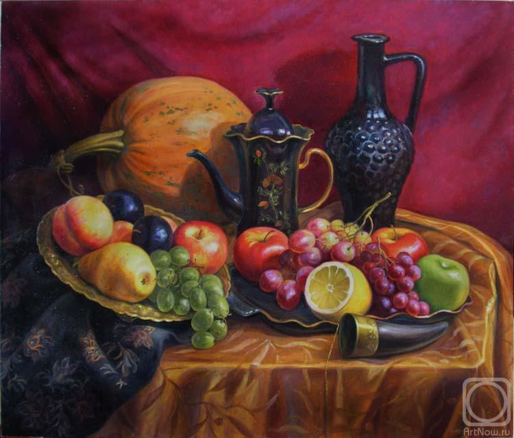 Натюрморты с фруктами и вазой с цветами