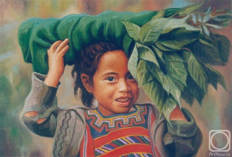 Витакова Татьяна. Девочка майя с листьями табака