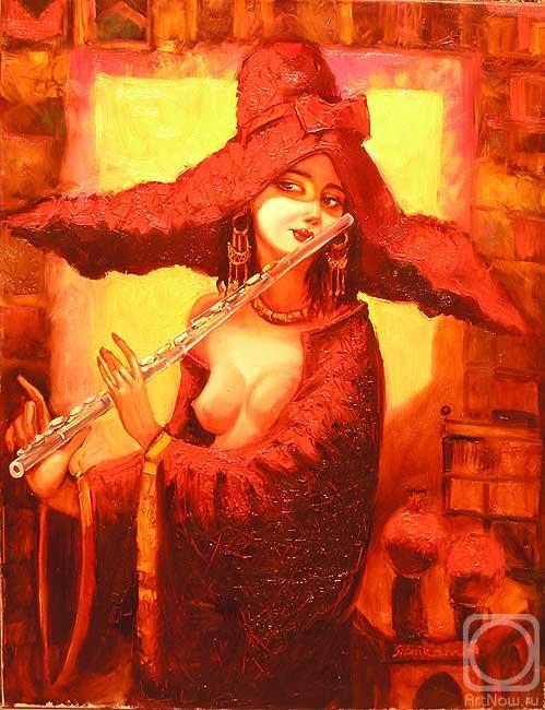 Саламов Байрам. Дама в красной шляпе