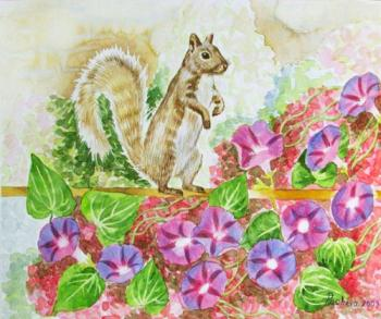 Squirrel and Flowers. Piacheva Natalia