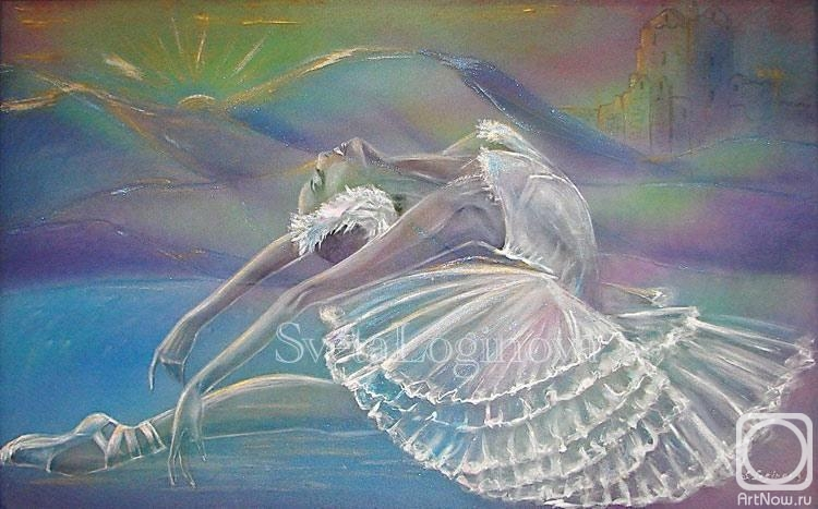 """Логинова Светлана. Двуслойная шелковая картина """"Балерина. Лебединое озеро"""""""