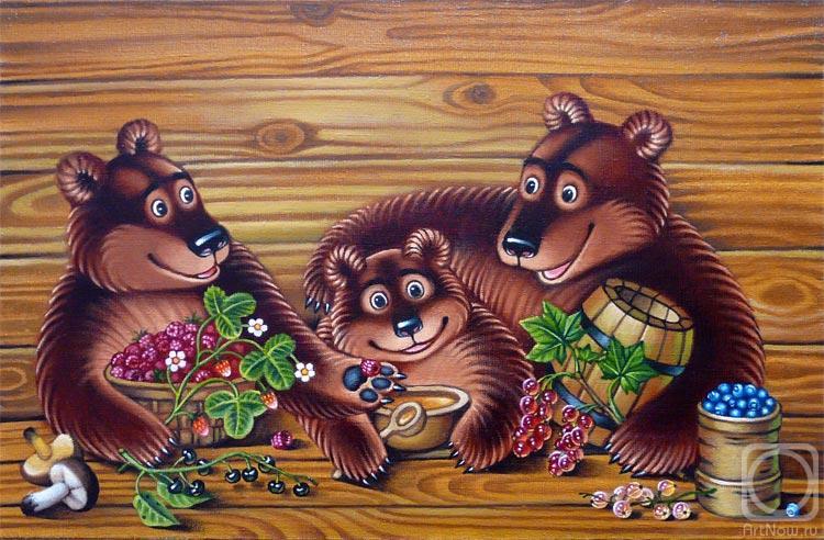 В домике этом жили три медведя.  Один медведь был отец