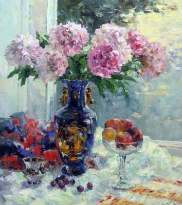 The bouquet of the peonies