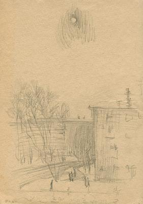 Winter Street in Domodedovo (one of the first drawings). Yudaev-Racei Yuri