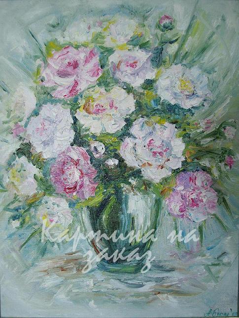 Работа продается за 523.  Год создания 2008.  Картина Пионы.  Продажа картин, выполнение авторских копий.