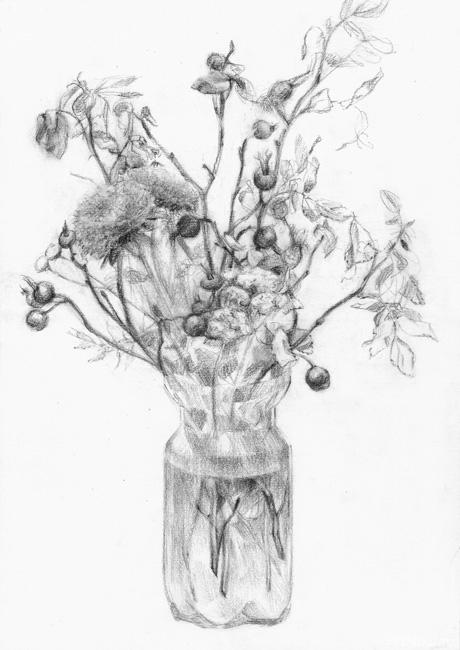 рисунки карандашом букеты: