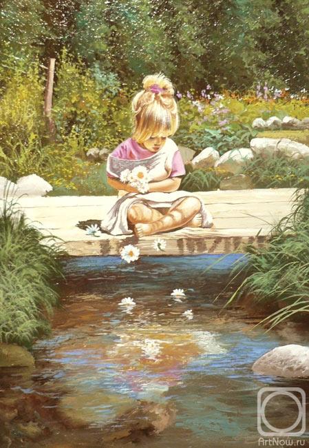 Девочка с ромашками на мосту копия