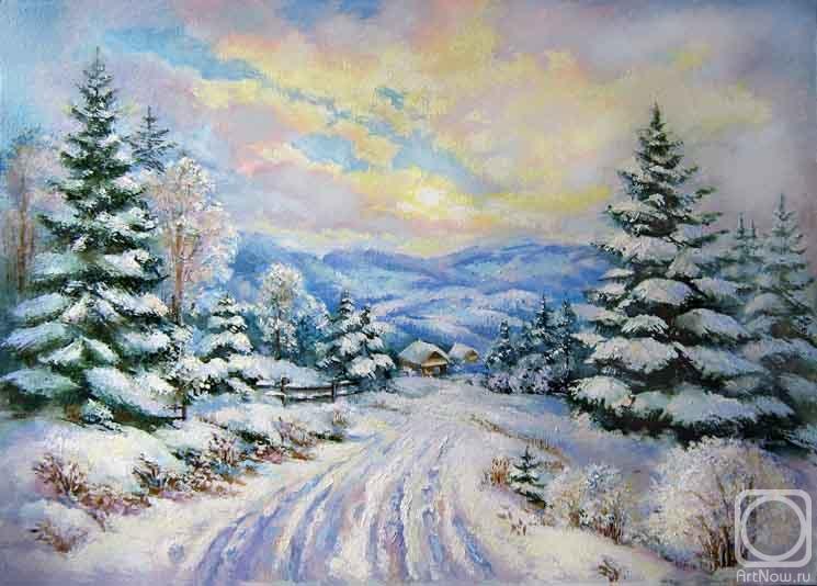 зимой картина:
