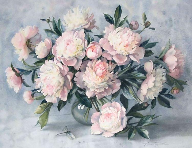 Буклет по вышивке крестиком.Прекрасные цветы пионы.Название: Peony and dragonfly Автор: S.Nedelcheva Издательство...