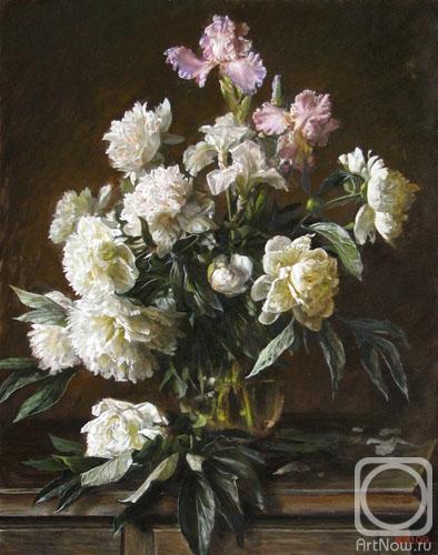 Картины художника бело лиловый букет