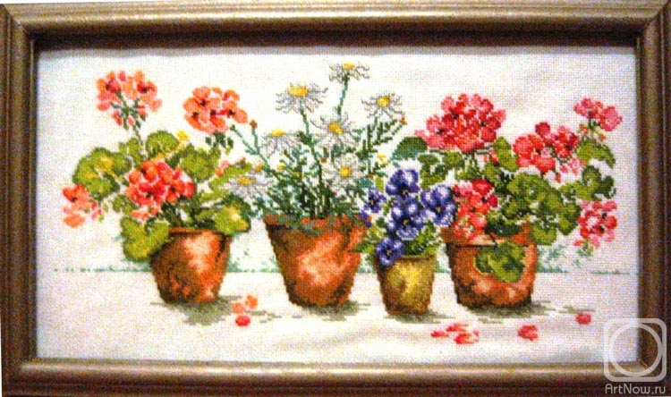 Вышивка крест цветы в горшках