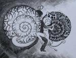 """Черно- белое танго (работа на конкурс """"Близость"""")из серии'' Улитки тоже люди''. Хромых Наталия"""