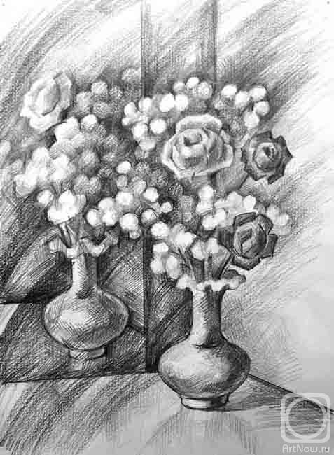 Картинки натюрморт карандашом цветы узнать кого