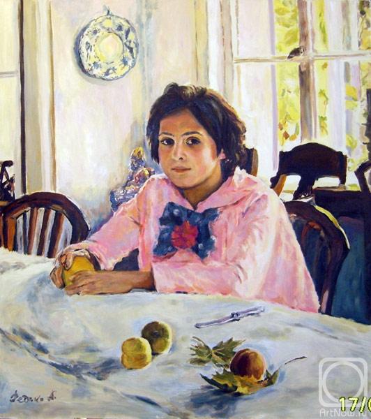 Картинка девочка с персиками, платочков