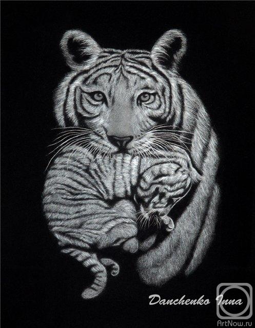 Данченко Инна. Тигрица с малышом