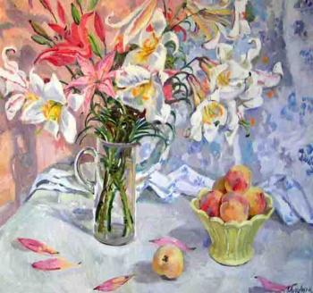 White lilies and peaches. Moskaleva Irina