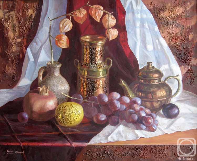 Краснова Нина. Бронзовый натюрморт с китайскими фонариками