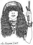 портрет молодой амазонки с мечом