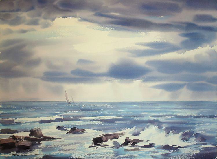 Альбом акварель морской пейзаж